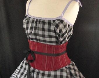 Red Waist Cincher / Dark Red Corset Belt / Renaissance Costume / Pinstripe Sash / Bridal Corset / Lingerie Cotton Corset / Plus Sizes