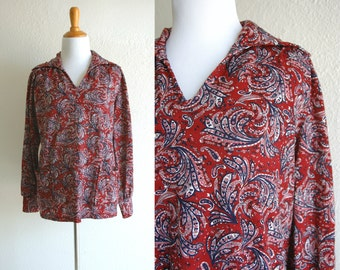70s Red Paisley Stretchy Long Sleeve V Neck Shirt with Pockets Size Large