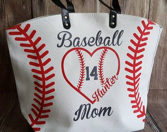 Baseball Mom Baseball Heart Personalized Baseball Tote Bag White Baseball Bag Tote Bag Custom Last Name Nickname Number for Mother's Day