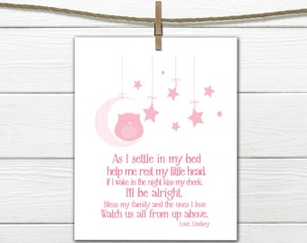 Bedtime Prayer with Sleeping Owl  PDF Digital Download  Nursery Print Any Size