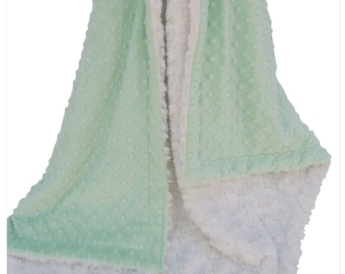 Mint and Ivory Minky Dot Blanket, Mint and Cream Minky Baby Blanket,