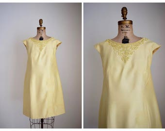 Vintage 60s A Line Soutache Dress | 1960s Evening Dress XL