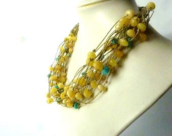 Linen Necklace.Butterscotch Amber Necklace  Linen Baltic Amber Necklace Round Beads Amber Turquis Jewelry.Bohemian Fiber Jewelry