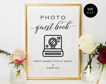 WS006 : Photo Guest Book Sign, Photo Guest Book Wedding Sign, Printable Photo Guest Book Sign, Wedding Printable Sign, PDF Instant