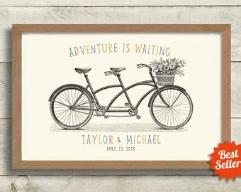 Unique Wedding Gift Idea Engagement Gift Wall Art Vintage Wedding Decor Gift for Couples Bicycle for Two Bridal Shower Tandem Bicycle