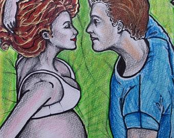 Pregnancy - Mixed media on paper. Unframed.
