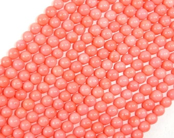 Pink Coral Beads, Angel Skin Coral, 6mm(6.6mm) Round Beads, 15.5 Inch, Full strand, Approx 60 beads, Hole 0.6 mm (118054003)