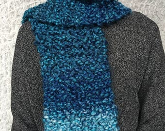 Chunky Blue Scarf, Soft Chunky Scarf, Ombre Scarf, Hand Knitted Scarf