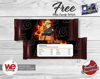 Naruto Printable Candy Bar Wrapper,Naruto Labels,Naruto Birthday decoration, instant download, DIY