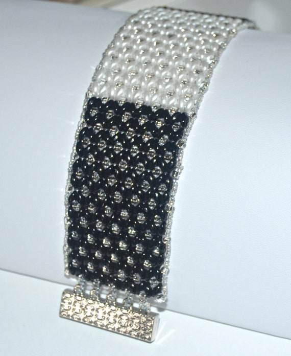 Black and White Elegant Cuff Bracelet