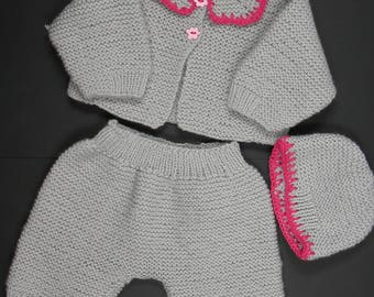 all baby knit pants and hat gray acrylic yarn