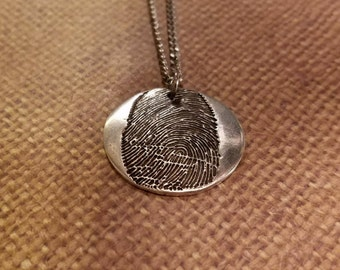 INK-1 LARGE FINGERPRINT Round Necklace in solid Fine .999 Silver-includes chain