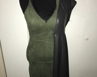 Olive Green Slip Dress with Zippered Slit and Black Lace Trim