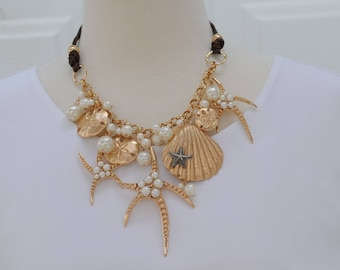 SALE - Bib Necklaced, Seashell Starfish Necklace, Dangle necklace, Gift for her, Short necklace, pearl necklace, Valentines gift