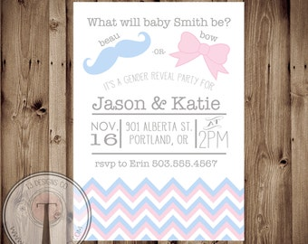 Beau or Bow Gender Reveal Party Invitation, Mustache Gender Reveal, Bows, Mustache, beau, beaus, bow, bows
