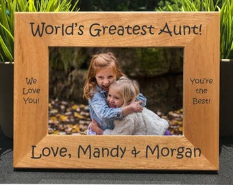 World's Greatest Aunt // Personalized Engraved Photo Frame // Picture Frame // La tía más grande del mundo // Auntie // Gift