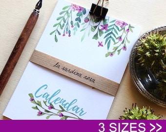 2018 desk calendar, monthly, small floral calendar, 2018 watercolor flowers calendar, mini calendar, new year 2018, christmas gift