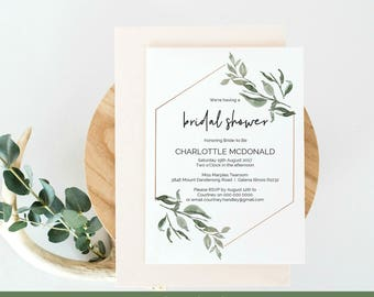 Greenery Bridal Shower Invitation, Modern Printable Shower Invite Template, Instant Download Editable PDF, WLP447