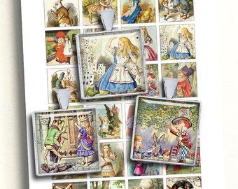 "Alice in Wonderland Collage Sheet Square Printable images 1.5"" 1"" 0.75x0.83"" Digital Collage Sheet - Instant Download"