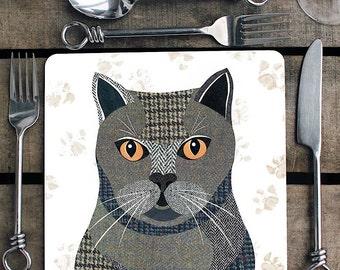 British Shorthair cat personalised placemat/coaster
