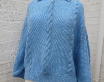 Slouchy blue sweater vintage chunky jumper large sweater knitted jumper 70s sweater chunky wool jumper large batwing sweater womans handmade