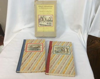 Antique Alice's Adventures in Wonderland and Through the Looking Glass 2 book collection by Lewis Carroll