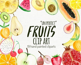 watercolor fruit clipart, food clip art, hand drawn, healthy, fruits, fresh fruits, watermelon, banana, apple , instant download, png files