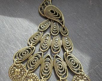 PENDENTIF PAON ARTICULE magnifique bijou pour créations personalisées 10.5 cm couleur bronze