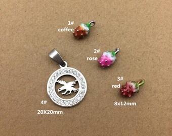 10PCS, Enamel Charm, Strawberry Charm, White Eagle Pendant, Jewelry Charm, Craft Supplies, Gold Tone