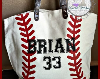 Baseball Tote Custom Baseball Tote with Bling Baseball bag Baseball Mom tote