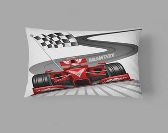 Personalized Race Car Checkered Flag  Pillow Case