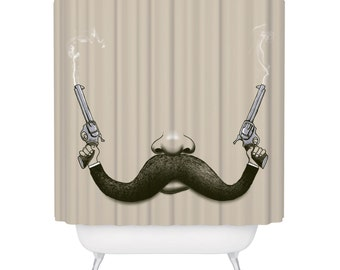 Shower Curtain, Mustache, Guns, Cowboy, Movember, Funny Shower Curtain, Made in USA - Great Decoration Gift for Bathroom