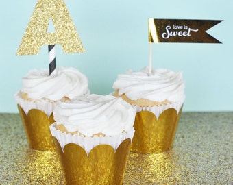 Gold Cupcake Wrapper Gold Cupcake Liner Wrapper for Gold Wedding or Baby Shower Golden 1st Birthday Party Decor (EB3033) set of 12 Wrappers