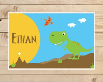 Kids-Personalized-Placemat--Dinosaur-Kids-Placemats-A-personalised-children's-gift-idea. Placemat-for boys