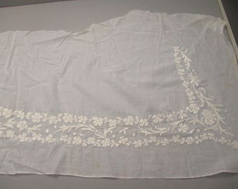 Antique lace embroidered muslin panel remnant