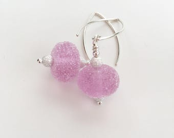 Pink  Lampwork earrings, frosted baby pink earrings with Sterling silver, Mothers Day gift for her, mum, Auntie gifts, sister, grandma