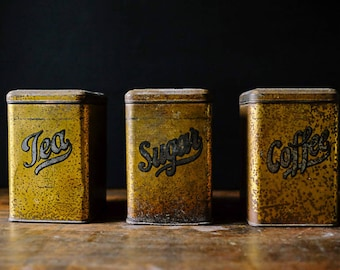 Set of Three Vintage KITCHEN Metal Tins SUGAR COFFEE Tea Storage Canisters Patina