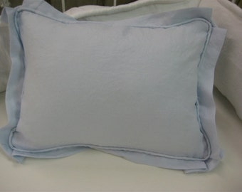Tailored Crib Pillow in Washed Linen-White-Oatmeal-Baby Blue-Baby Pillow