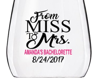 Bachelorette Party Wine Glass Decals, From Miss to Mrs Wedding Wine Glass Decals, Personalized Bachelorette Decals, GLASSES NOT INCLUDED