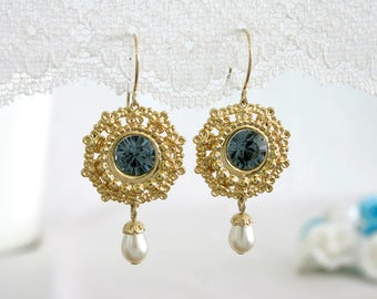 Mother of the bride earrings, Mother of the bride jewelry, Mother earrings, Blue and gold earrings, Blue dangle earrings
