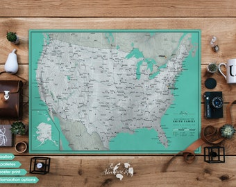 US map poster / Push pin travel map / United States travel map large / Anniversary gift / Travel inspiration board / Personalized travel map