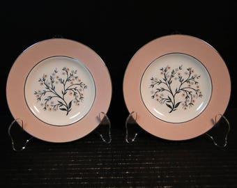 "TWO Homer Laughlin Cavalier Springtime Bread Plates 6 1/4"" CV32 Pink Set of 2 EXCELLENT!"