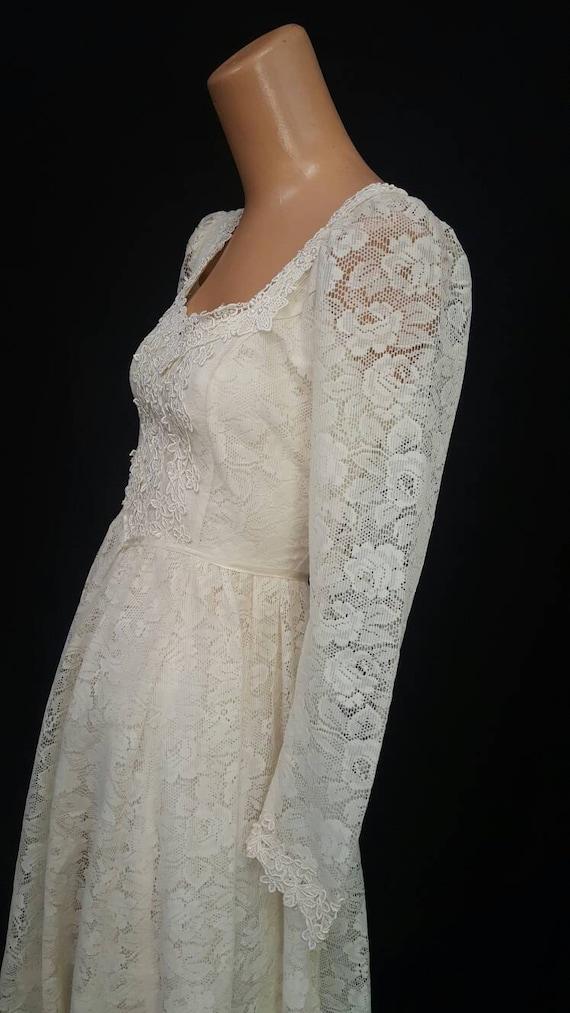 Vintage 70s Off White GUNNE SAX Boho Wedding Peasant Long