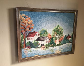 Vintage Hand Made and Framed Needlepoint Scene, Antique  Farmhouse Needlepoint , Cottage Chic Wall Decor,