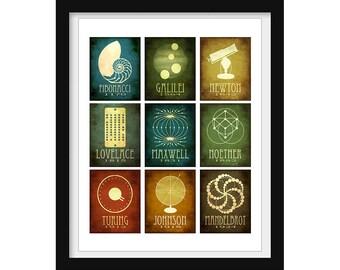 Math Gift - Mathematics Poster - Math Teacher Gift  - Science Art Print - Educational Poster - Ada Lovelace Isaac Newton Fibonacci Sequence