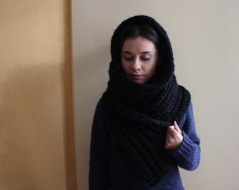 Hooded Scarf. Long Scarf. Wool Scarf. Chunky Scarf. Scoodie Scarf. Wool Black Scarf. black hooded scarf. knit scoodie scarf