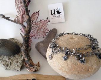 9.25 silver Bracelet oxidized no mold, molten silver