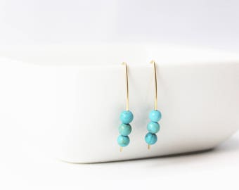 Turquoise Howlite 3 Bead 14k Gold Filled Earrings / Turquoise Earrings / Minimalist / Stacy Earrings / December Birthstone