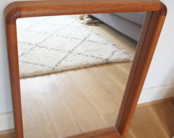 Mid century Danish large teak wall mirror