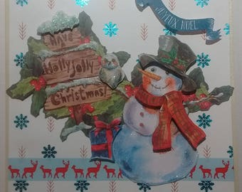 Merry Christmas, snowman and sign, 3D card